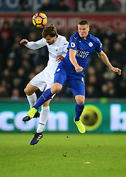 Robert Huth of Leicester City battles for a high ball with Fernando Llorente of Swansea City - Mandatory by-line: Alex James/JMP - 12/02/2017 - FOOTBALL - Liberty Stadium - Swansea, England - Swansea City v Leicester City - Premier League