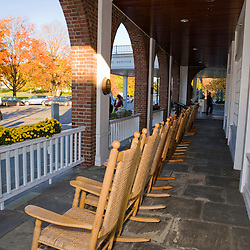 Front Porch of the Hanover Inn on the Dartmouth College Green in Hanover, New Hampshire.