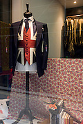 Patriotic Union jack wastecoat on display in a City of London taylor's shop on St George's Day.