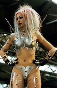 Goth woman in futuristic outfit Alternative Fashion show London UK 1998