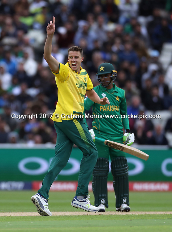 Morne Morkel appeals as Fakhar Zaman (right) is caught off his bowling during the Champions Trophy One Day International between Pakistan and South Africa at Edgbaston, Birmingham. 7 June 2017. Photo: Graham Morris/www.cricketpix.com / www.photosport.nz
