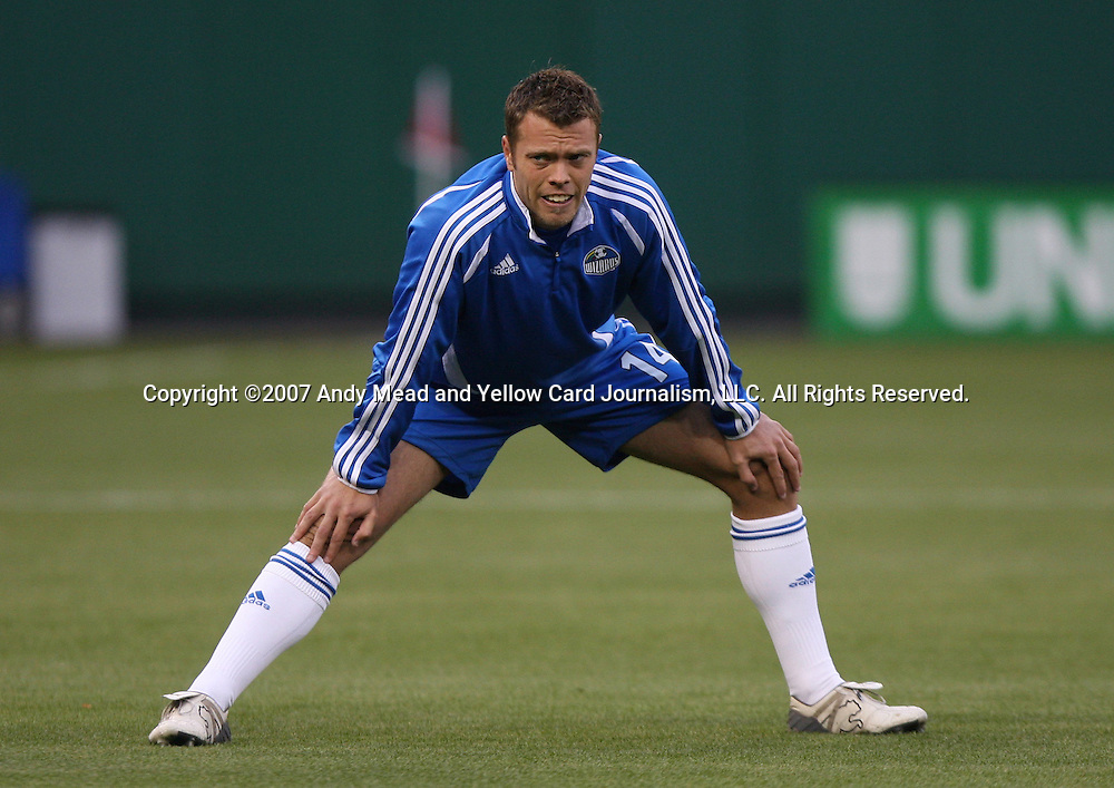 14 April 2007: Kansas City's Jack Jewsbury.  DC United lost 4-2 to the Kansas City Wizards at RFK Stadium in Washington, DC in their Major League Soccer 2007 regular season home opener.