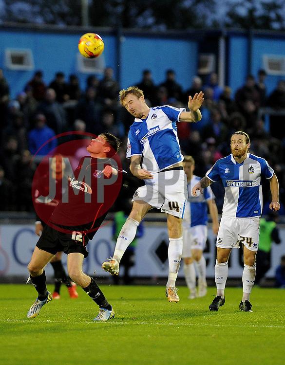 Chris Lines of Bristol Rovers wins a header - Mandatory byline: Neil Brookman/JMP - 07966 386802 - 14/11/2015 - FOOTBALL - Memorial Stadium - Bristol, England - Bristol Rovers v Carlisle United - Sky Bet League Two