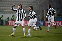 Alessandro Matri esulta , goal celebration Juventus.Calcio Cagliari vs Juventus .Serie A - Parma 21/12/2012 Stadio Ennio Tardini.Football Calcio 2012/2013.Foto Federico Tardito Insidefoto.