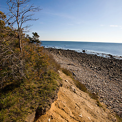 View from a bluff above the beach at the Center Hill Preserve in Plymouth, Massachusetts.  Cape Cod Bay.