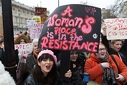 """© Licensed to London News Pictures. 21/01/2018. London, UK. Demonstrators take part in the Time's Up rally for women's rights at Richmond Terrace in Whitehall, London. The Time's Up rally is taking place on the first anniversary of the Women's March London and aims to """"renew the struggle for equality and justice"""". Photo credit: Vickie Flores/LNP"""