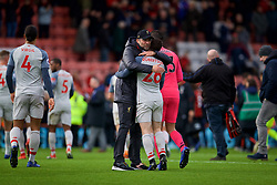 BOURNEMOUTH, ENGLAND - Saturday, December 8, 2018: Liverpool's manager Jürgen Klopp embraces Andy Robertson after the 4-0 victory over AFC Bournemouth during the FA Premier League match between AFC Bournemouth and Liverpool FC at the Vitality Stadium. Liverpool won 4-0. (Pic by David Rawcliffe/Propaganda)