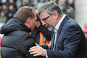 Craig Levein and Brendan Rodgers at the Ladbrokes Scottish Premiership match between Heart of Midlothian and Celtic at Tynecastle Stadium, Gorgie, Scotland on 17 December 2017. Photo by Kevin Murray.