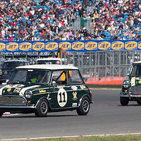 #11, Austin Mini Cooper S (1965), Jonathan Lewis (GB), Silverstone Classic 2015, Warwick Banks Trophy for Under 2 Litre Touring Cars (U2TC) followed by #10, Austin Mini Cooper S (1965), Martin O'Connell (GB), Silverstone Classic 2015, Warwick Banks Trophy for Under 2 Litre Touring Cars (U2TC). 25.07.2015. Silverstone, England, U.K.  Silverstone Classic 2015.