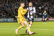 Tony Andreu of St Mirren FC & Luke Southwood of Hamilton Academical come together on the edge of the box during the Ladbrokes Scottish Premiership match between St Mirren and Hamilton Academical FC at the Simple Digital Arena, Paisley, Scotland on 5 February 2020.