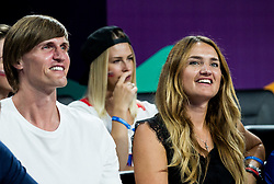 Andrei Kirilenko, former player of Russia with his wife during basketball match between National Teams  Spain and Russia at Day 18 in 3rd place match of the FIBA EuroBasket 2017 at Sinan Erdem Dome in Istanbul, Turkey on September 17, 2017. Photo by Vid Ponikvar / Sportida