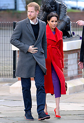 The Duke and Duchess of Sussex on a walkabout to visit a new sculpture in Hamilton Square to mark the 100th anniversary of war poet Wilfred Owen's death, during a visit to Birkenhead. Photo credit should read: Doug Peters/EMPICS