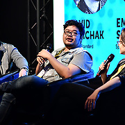 Speaker David Tomchak, Emily Short and Brenden Gibbons at London Games Festival 2019: HUB at Somerset House at Strand, London, UK. on 2nd April 2019.