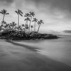 Maui Hawaii Ulua Beach shoreline morning black and white photo in Wailea Makena along the Pacific Ocean. Photo copyright ⓒ 2019 Paul Velgos with All Rights Reserved.