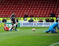 Bristol City's Greg Cunningham sees his effort saved by Walsall's Richard O'Donnell  - Photo mandatory by-line: Joe Meredith/JMP - Mobile: 07966 386802 12/04/2014 - SPORT - FOOTBALL - Walsall - Banks' Stadium - Walsall v Bristol City - Sky Bet League One