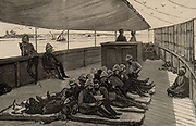 Invalid soldiers of the British army occupying Egypt travelling up the Nile by steam boat for a fortnight of convalesance.  From 'The Illustrated London News' (2 December 1882). Engraving.