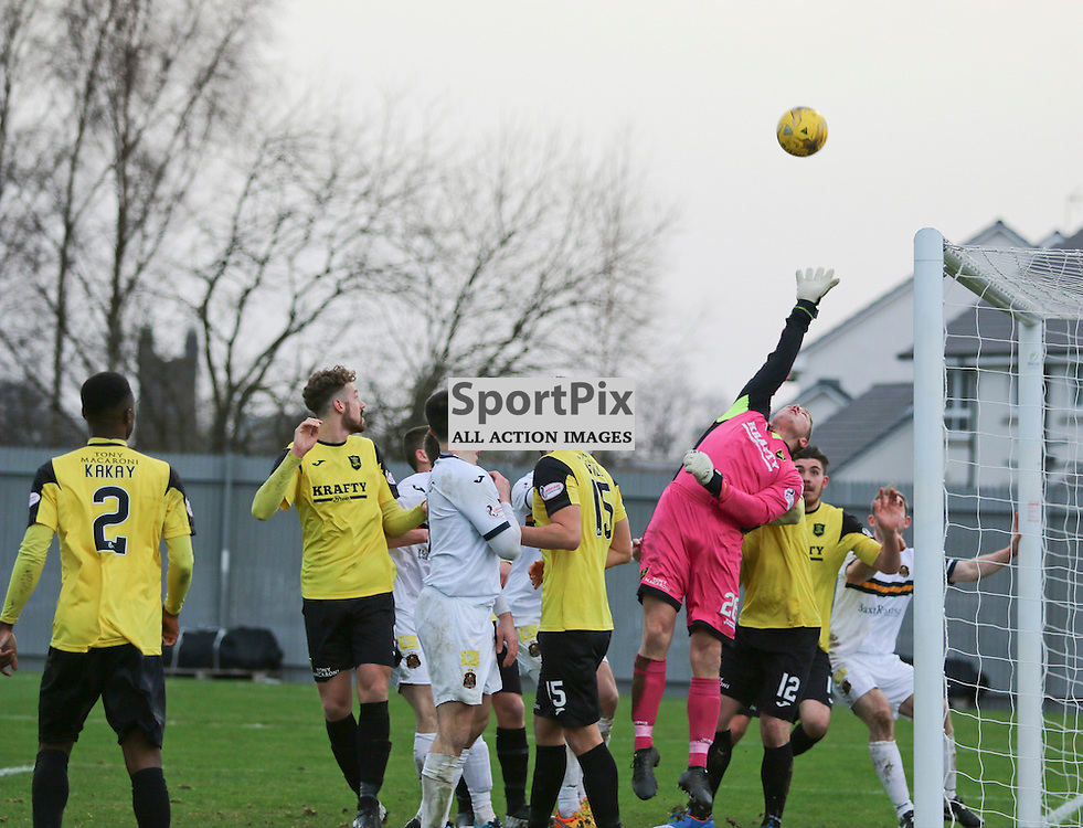 Livingston keeper Marc McCallum just cant reach Mark Docherty cross which goes in during the  Dumbarton v Livingston  Scottish Championship 30 January 2016<br /> <br /> (c) Andy Scott | SportPix.org.uk