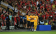 Inter Milan goalkeepers come on to the pitch for warm up during an International Champions Cup game won by Manchester United 1-0, Saturday, July 20, 2019, in Singapore. (Kim Teo/Image of Sport)
