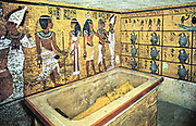 Tomb of Tutankhamun (dc1340 BC):  Sarcophagus containing gold coffin of the king which held his mummy.. Cairo Museum, Egypt