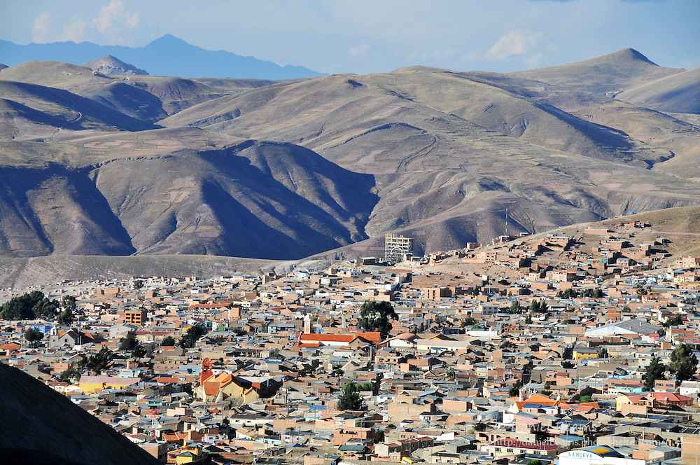 Potosi city seen from Cerro Rico silver mines, Potosi, Bolivia