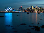 Olympic Logo and Vancouver Waterfront at Sunset