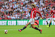 Marouane Fellaini Midfielder of Manchester United passes the ball during the FA Community Shield match between Leicester City and Manchester United at Wembley Stadium, London, England on 7 August 2016. Photo by Shane Healey.
