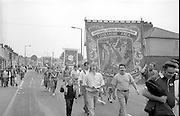 Gascoigne Wood and Wistow branch banners. 1990 Yorkshire Miner's Gala. Rotherham.
