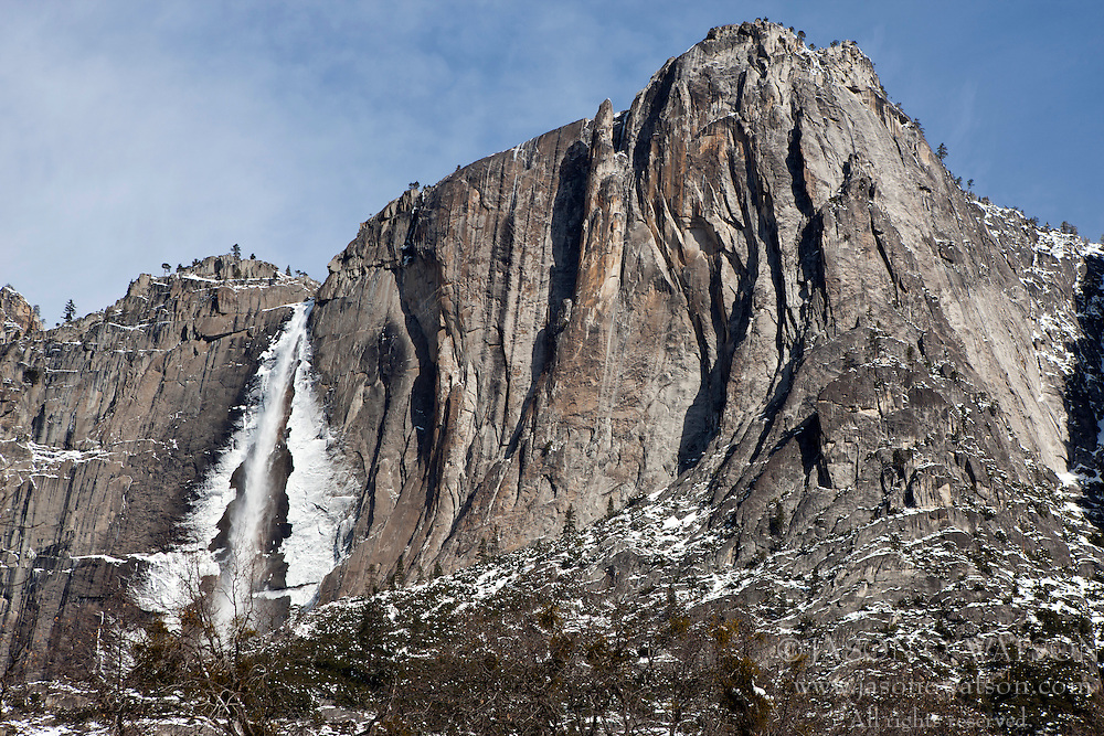 Yosemite Falls during winter with ice and snow, Yosemite National Park, California, United States of America