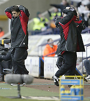 Photo: Aidan Ellis.<br /> Bolton Wanderers v Fulham. The Barclays Premiership. 11/02/2007.<br /> Fulham manager Chris Coleman and his backroon staff cant believe it as a chance to get a draw goes begging in the final minute