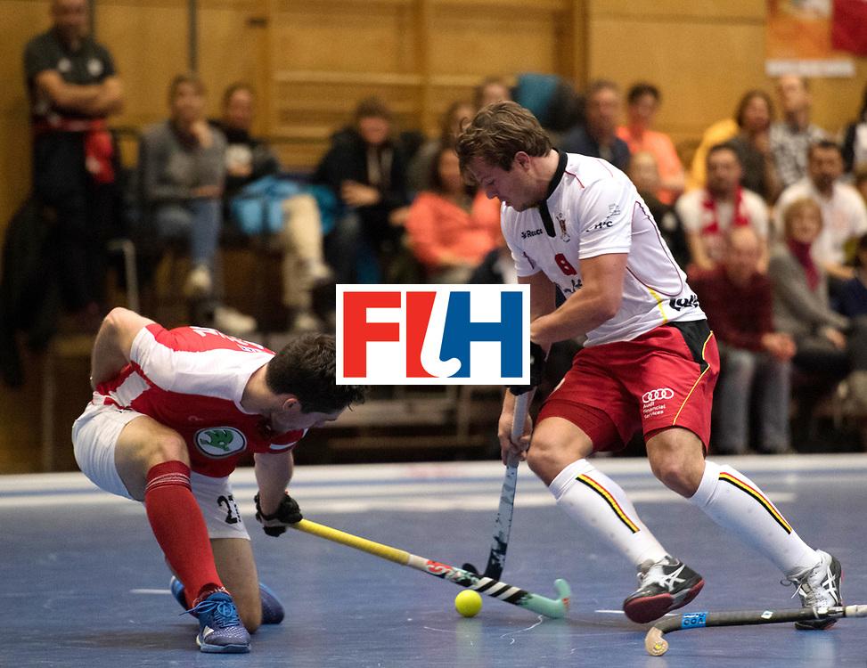 BERLIN - Indoor Hockey World Cup<br /> Austria - Belgium<br /> foto: HASUN Xaver (C) and BOON Tom<br /> WORLDSPORTPICS COPYRIGHT FRANK UIJLENBROEK