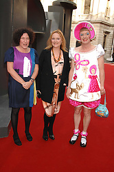 Left to right, FRANCESCA SIMON, MIRANDA RICHARDSON and GRAYSON PERRY  at the Royal Academy of Art Summer Exhibition Preview Party on 4th June 2008.<br />