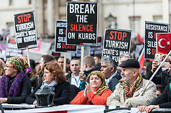 "© Licensed to London News Pictures. 06/03/2016. London, UK. Demonstrators gather in Trafalgar Square for the ""Stop Turkey's war on Kurds - Break the silence"" protest calling an end to the siege and mass murder of Kurdish people in Turkey. Photo credit : Stephen Chung/LNP"