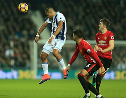 17 December 2016 - Premier League - West Bromwich Albion v Manchester United - Solomon Rondon of West Bromwich Albion wins a header from Marcos Rojo and Michael Carrick of Manchester United - Photo: Paul Roberts / Offside.