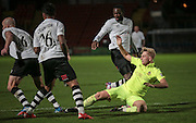 Louis Almond (Southport) sent tumbling into the Gateshead box, no penalty this time during the Vanarama National League match between Gateshead and Southport at Gateshead International Stadium, Gateshead, United Kingdom on 8 December 2015. Photo by Mark P Doherty.