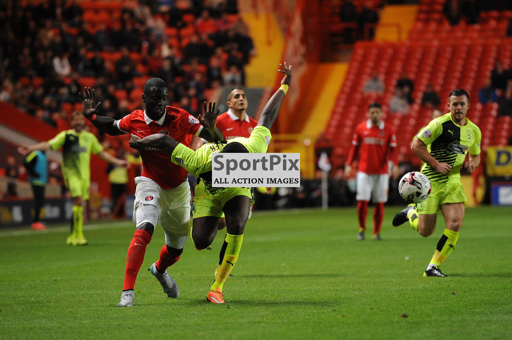Charltons Naby Sarr and Huddersfields Ishmael Miller during the Charlton v Huddersfield match in the Sky Bet Championship