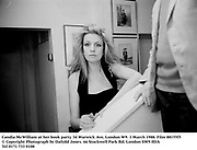 Candia McWilliam at her book party. 34 Warwick Ave, London W9. 1 March 1988. Film 88155f5<br /> © Copyright Photograph by Dafydd Jones<br /> 66 Stockwell Park Rd. London SW9 0DA<br /> Tel 0171 733 0108