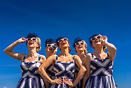 Elle and the Pocket Belles at the Goodwood Racecourse during the Qatar Goodwood Festival.<br /> Picture date: Wednesday August 1, 2018.<br /> Photograph by Christopher Ison ©<br /> 07544044177<br /> chris@christopherison.com<br /> www.christopherison.com