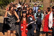 Undergraduates head to the graduation commencement ceremony at the University of Arizona, Tucson, Arizona, USA.