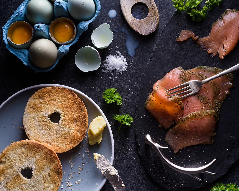 Bagels, eggs and gravadlax salmon, Brechin, Scotland