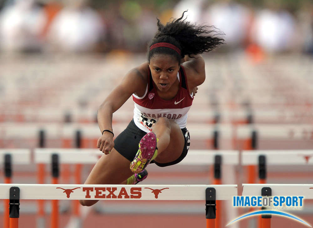 Mar 30, 2012; Austin, TX, USA; Kori Carter of Stanford was the top qualifier in the womens 100m hurdles in 13.15 in the 85th Clyde Littlefield Texas Relays at Mike A. Myers Stadium.
