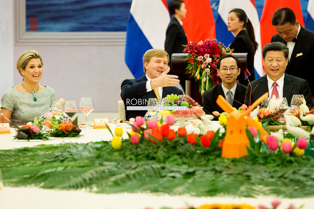 King Willem-Alexander and Queen Maxima of The Netherlands attend the state banquet hosted by President Xi Jinging and his wife Peng Liyuan at the Golden Hall in Beijing, China, 26 October 2015. The King and Queen are in china for an 5 day state visit. COPYRIGHT ROBIN UTRECHT