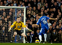 Photo: Ed Godden/Sportsbeat Images.<br />Chelsea v Wigan Athletic. The Barclays Premiership. 13/01/2007. Chelsea's Arjen Robben takes the ball round Wigan keeper Chris Kirkland to make it 2-0.