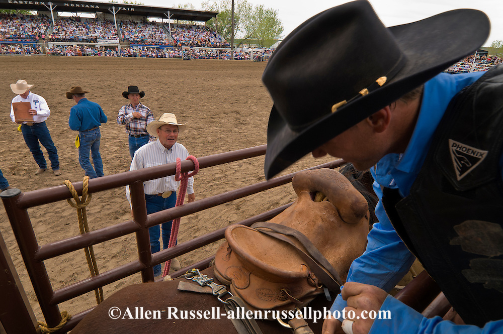 Pat Linger, Chute Boss at Miles City Bucking Horse Sale, Montana, helps Saddle Bronc Rider in chute
