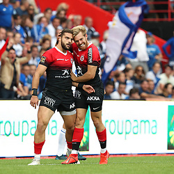 Lucas TAUZIN of Toulouse celebrate his try during the Top 14 match between Toulouse and Castres at Stade Ernest Wallon on October 12, 2019 in Toulouse, France. (Photo by Manuel Blondeau/Icon Sport) - Lucas TAUZIN - Stade Ernest-Wallon - Toulouse (France)