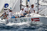 Palma de Mallorca, Spain - julio 30, 2017:  during day first of the GC32 sailing competition. The crew of team -, FRA, in their class during day first of the Copa del Rey-Mafre on July 31, 2017 in Palma, Spain.(Photo by Jesus DYañez)