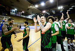 Devin Oliver of Petrol Olimpija, Talor Battle of Petrol Olimpija, Gregor Hrovat of Petrol Olimpija  celebrate after winning during basketballl match between KK Petrol Olimpija Ljubljana and KK Partizan NIS mts in Round #20 of ABA League 2017/18, on February 10, 2018 in Tivoli sports hall, Ljubljana, Slovenia. Photo by Vid Ponikvar / Sportida