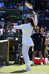 © Licensed to London News Pictures. 02/07/2018. London, UK. Serena Williams of the USA plays Arantxa Rus of the Netherlands in the Women's 1st round singles draw of the Wimbledon Tennis Championships 2018 <br />  Day 1. Photo credit: Ray Tang/LNP