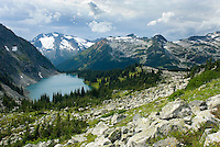 Rohr Lake with Cayoosh Mountain 2561 m (8402 ft) in the distance, Coast Mountains British Columbia Canada
