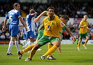 Hartlepool - Saturday August 29th, 2009: Norwich City's Simon Lappin (L) celebrates with goalscorer Michael Nelson during the Coca Cola League One match at Victoria Park, Hartlepool. (Pic by Jed Wee/Focus Images)..