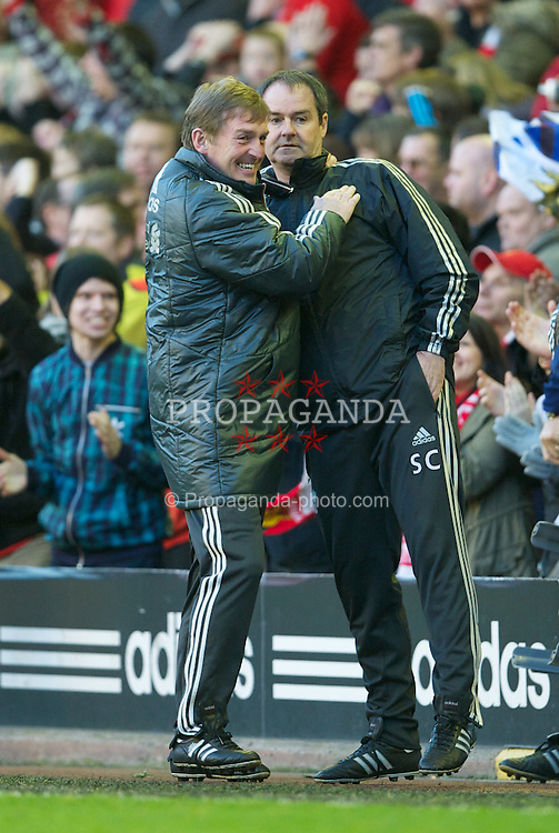 LIVERPOOL, ENGLAND - Sunday March 18, 2012: Liverpool's manager Kenny Dalglish celebrates with assistant manager Steve Clarke after the 2-1 victory in the FA Cup Quarter-Final match against Stoke City at Anfield. (Pic by David Rawcliffe/Propaganda)